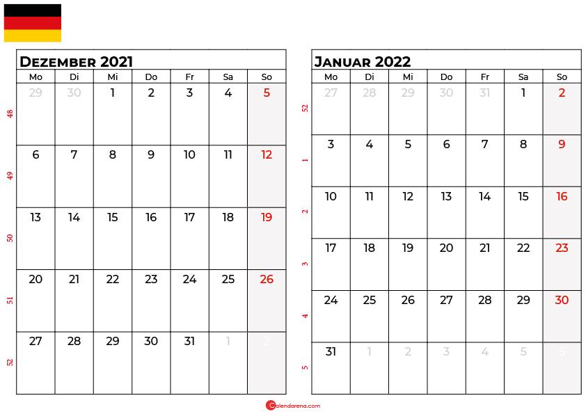 Kalender dezember januar 2022 Deutschland