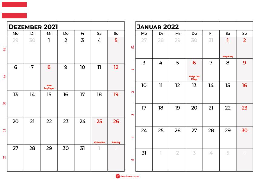 Kalender dezember januar 2022 Österreich