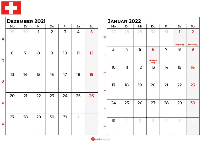 Kalender dezember januar 2022 Schweiz