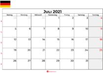 Kalender juli 2021 Deutschland
