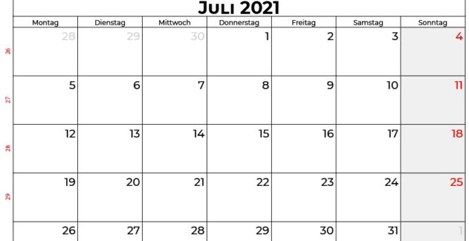 Kalender juli 2021 Österreich