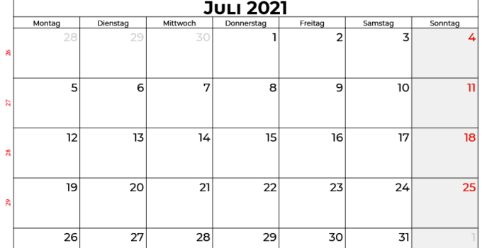 Kalender juli 2021 Schweiz