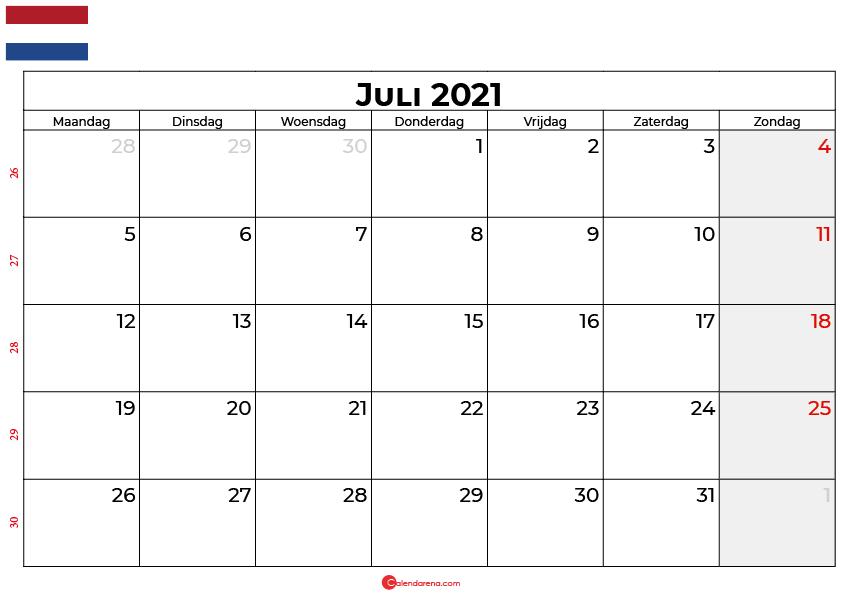 Kalender juli 2021 nl