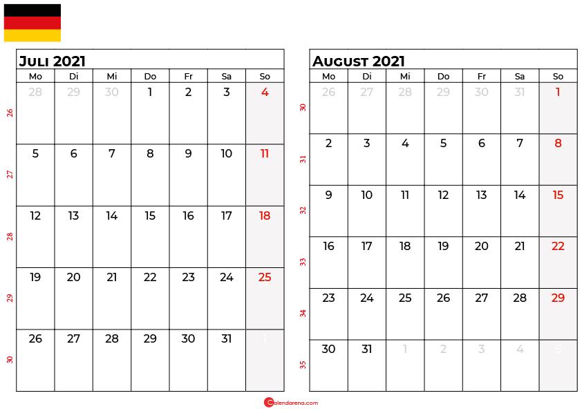 Kalender juli august 2021 Deutschland