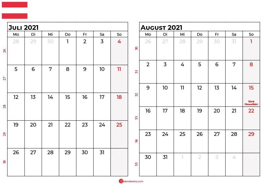 Kalender juli august 2021 Österreich