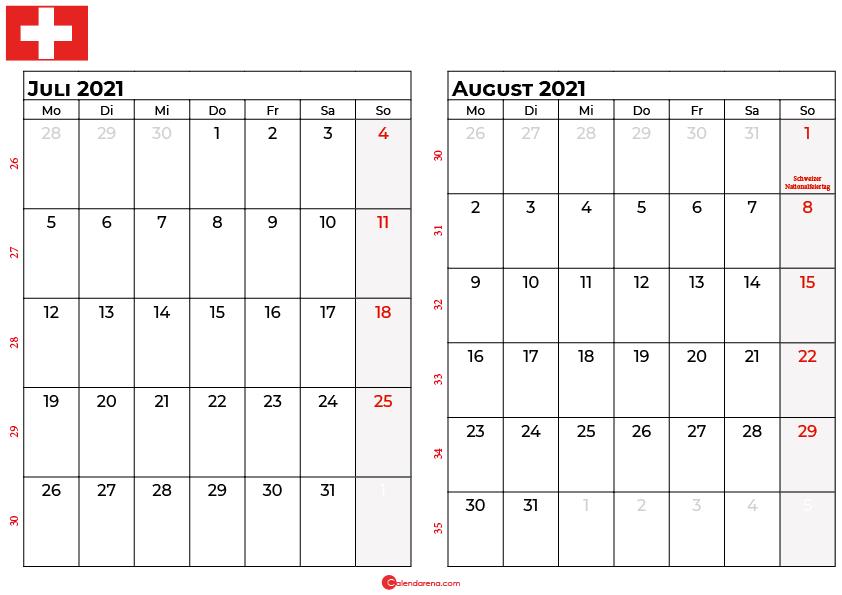 Kalender juli august 2021 Schweiz