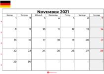 Kalender november 2021 Deutschland