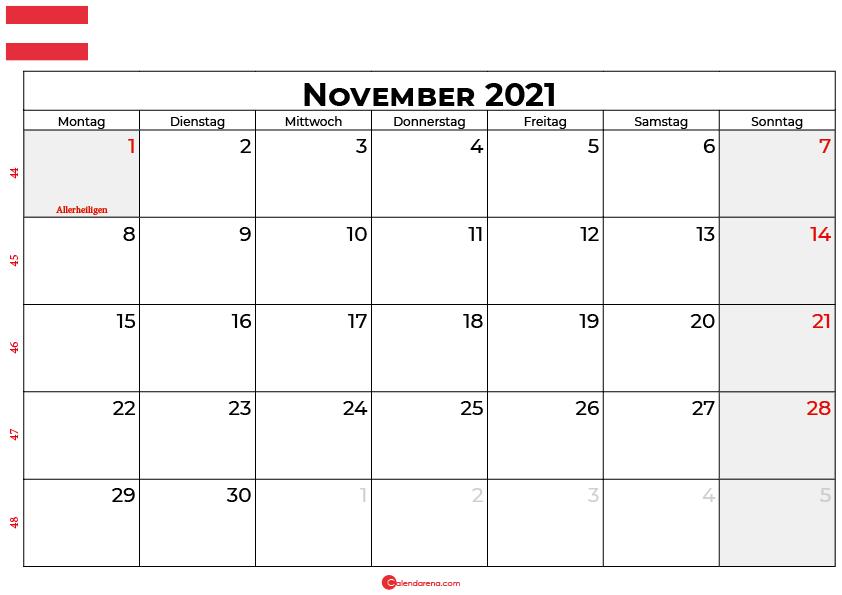 Kalender november 2021 Österreich