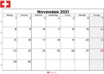 Kalender november 2021 Schweiz