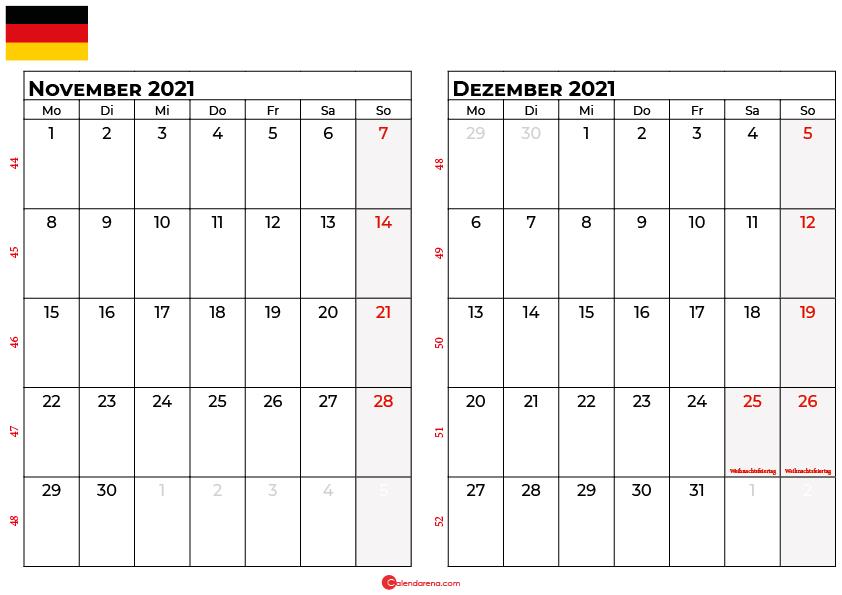 Kalender november dezember 2021 Deutschland