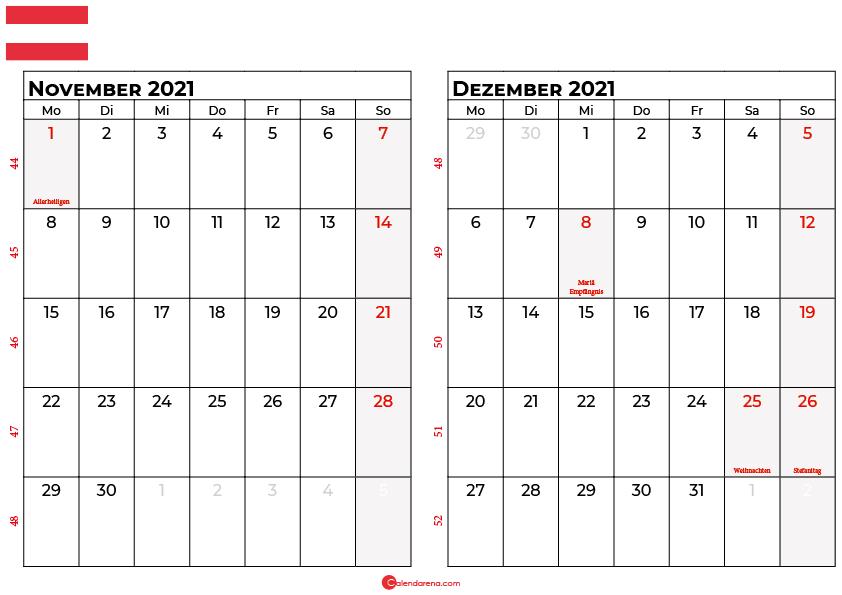 Kalender november dezember 2021 Österreich