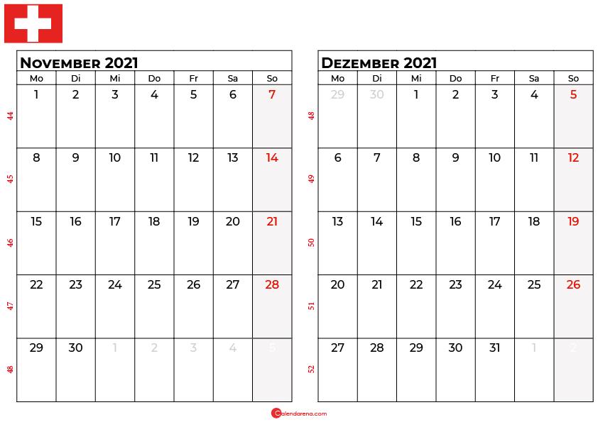 Kalender november dezember 2021 Schweiz