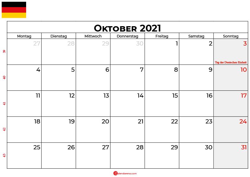 Kalender oktober 2021 Deutschland