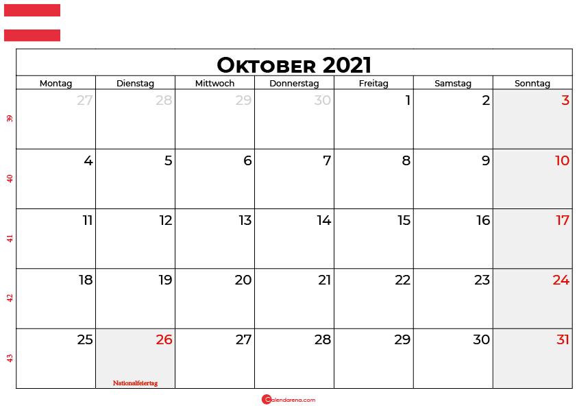 Kalender oktober 2021 Österreich