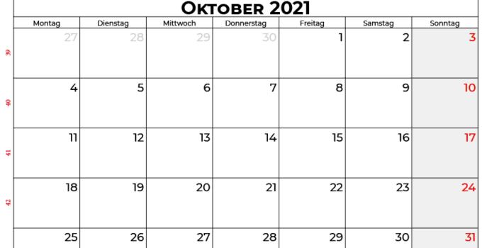 Kalender oktober 2021 Schweiz