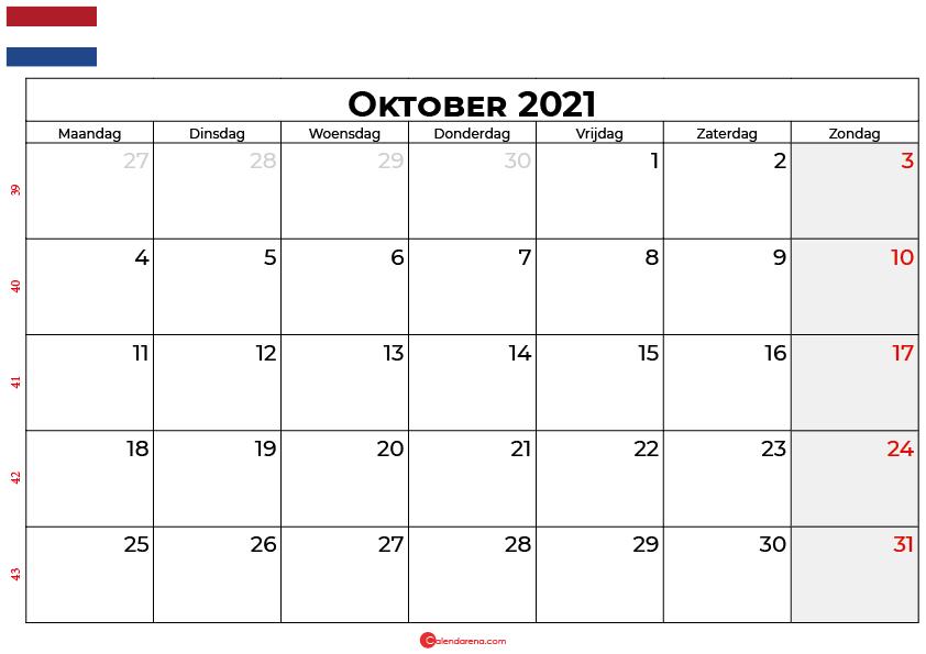 Kalender oktober 2021 nl