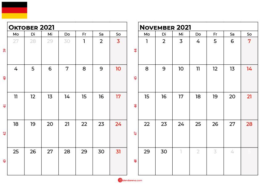 Kalender oktober november 2021 Deutschland