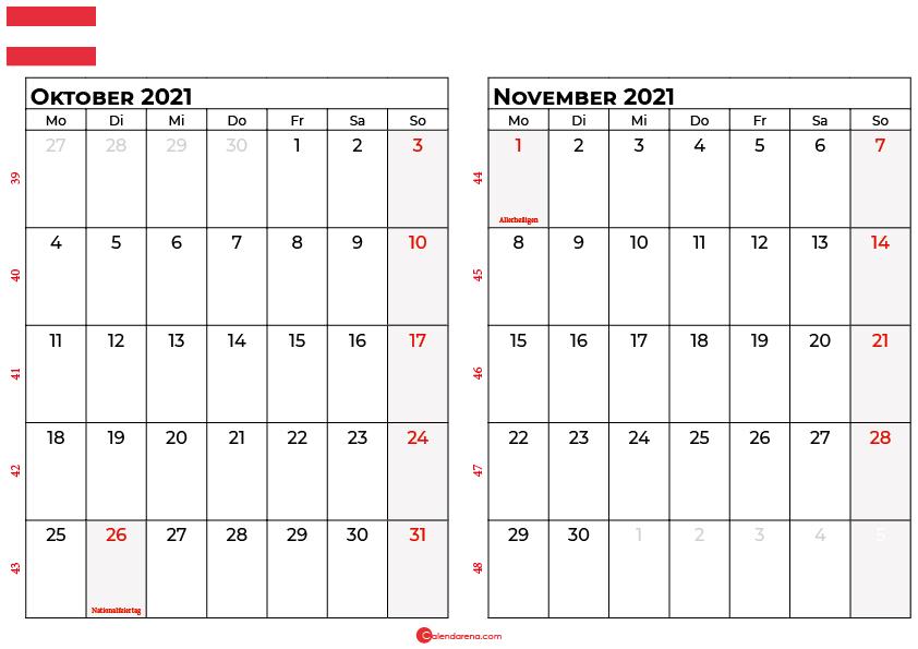 Kalender oktober november 2021 Österreich