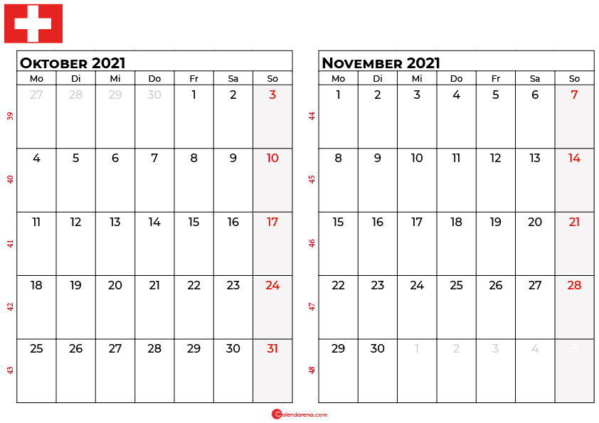 Kalender oktober november 2021 Schweiz