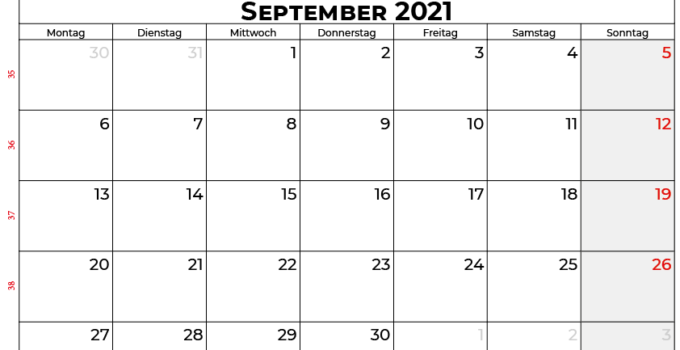 Kalender september 2021 Deutschland