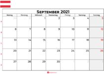Kalender september 2021 Österreich