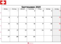 Kalender september 2021 Schweiz