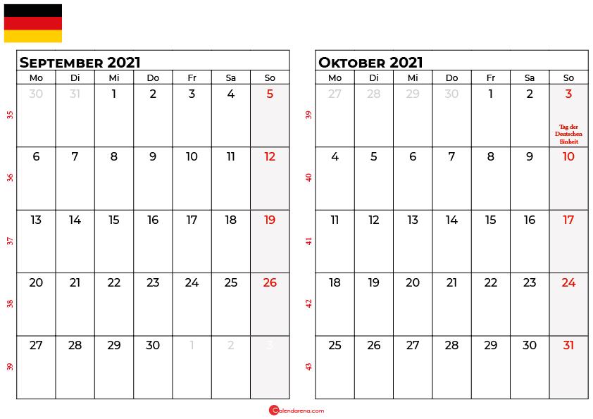 Kalender september oktober 2021 Deutschland