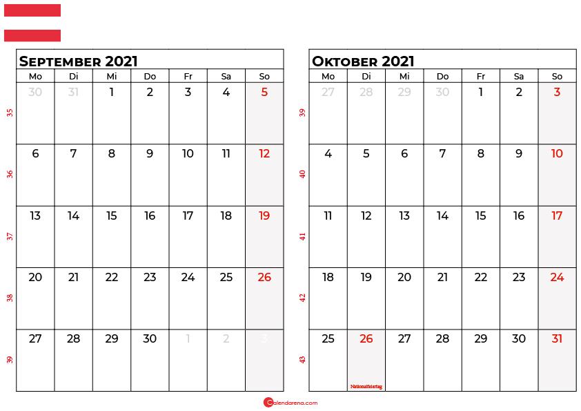 Kalender september oktober 2021 Österreich
