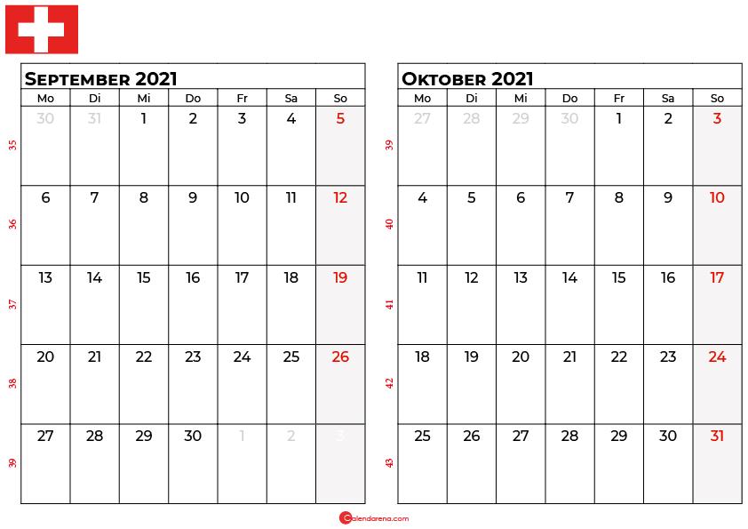 Kalender september oktober 2021 Schweiz
