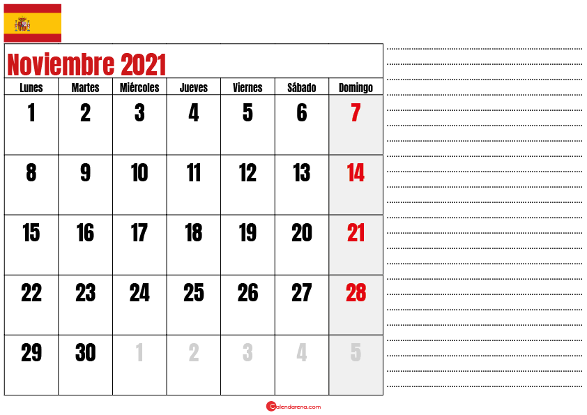 Noviembre 2021 calendario espana