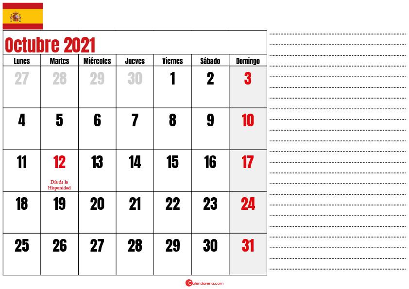 Octubre 2021 calendario espana