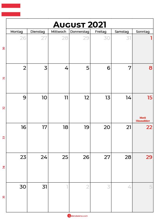 Österreich august 2021 kalender