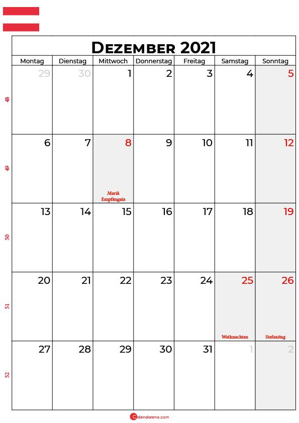 Österreich dezember 2021 kalender