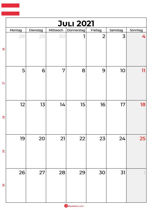 Österreich juli 2021 kalender