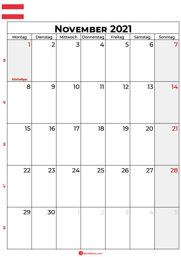 Österreich november 2021 kalender