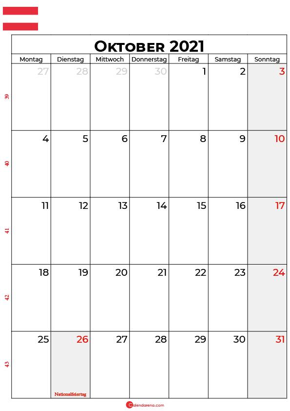 Österreich oktober 2021 kalender