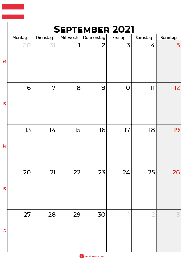 Österreich september 2021 kalender