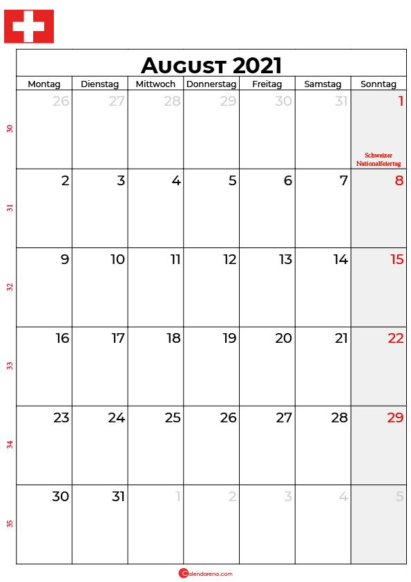 Schweiz august 2021 kalender