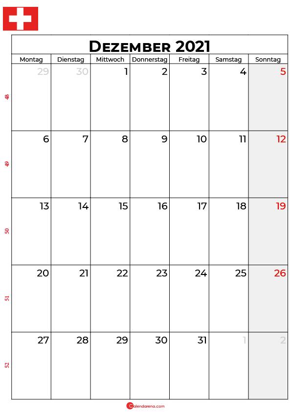 Schweiz dezember 2021 kalender