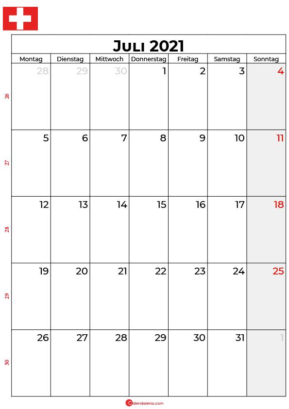 Schweiz juli 2021 kalender