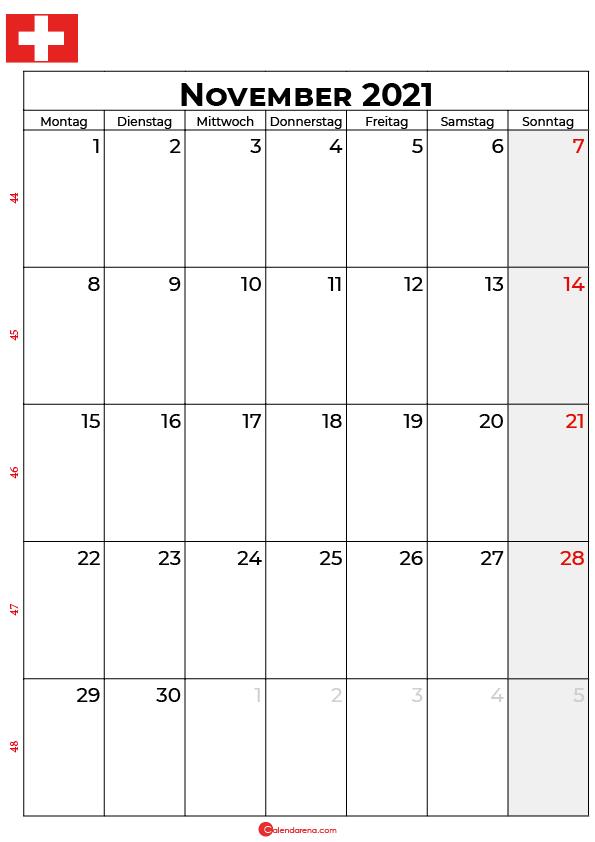 Schweiz november 2021 kalender