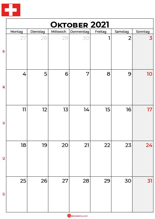 Schweiz oktober 2021 kalender