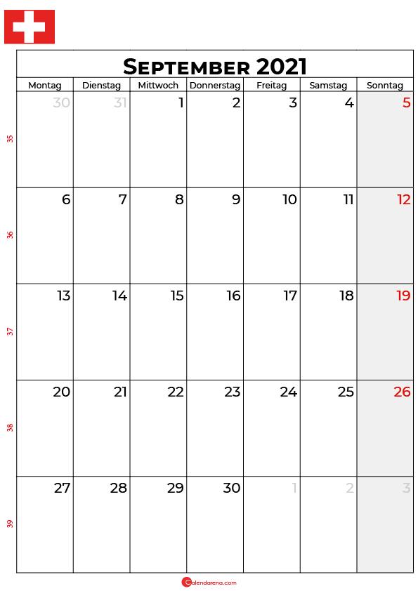 Schweiz september 2021 kalender