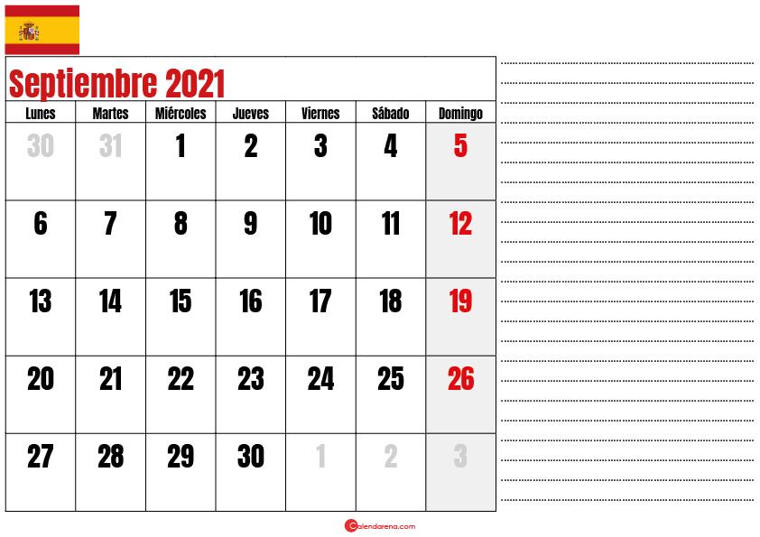 Septiembre 2021 calendario espana