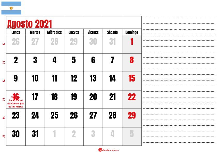 agosto 2021 calendario argentina