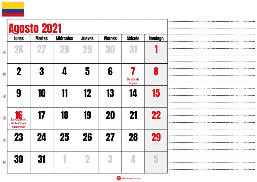 agosto 2021 calendario colombia
