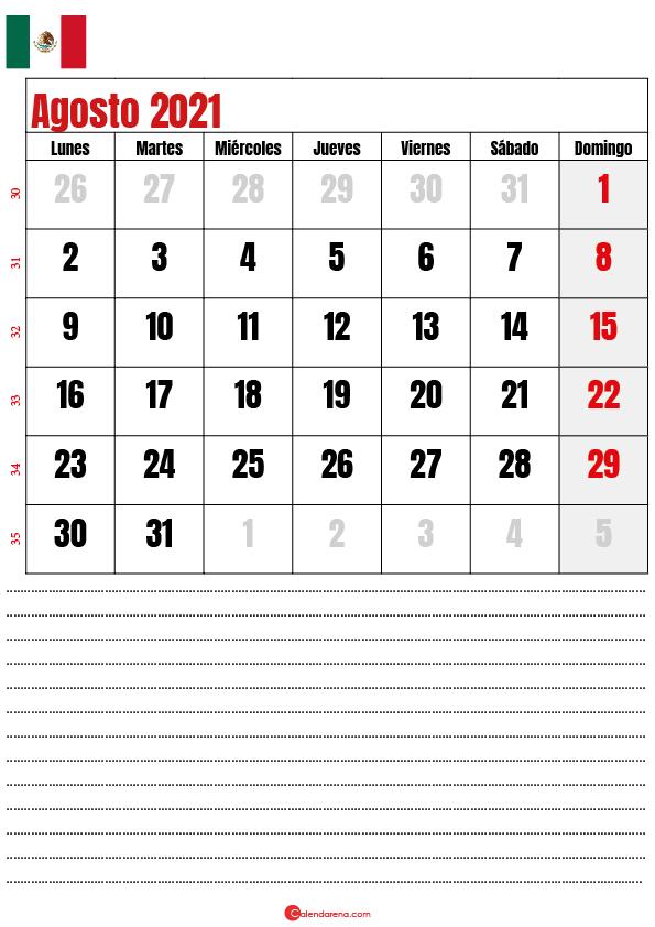 agosto 2021 calendario mexico