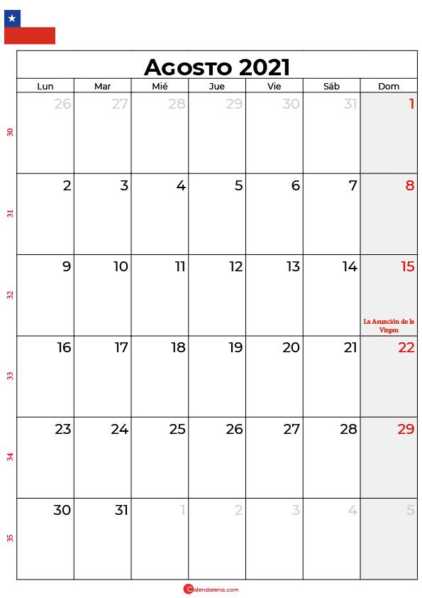 agosto 2021 calendario chilie