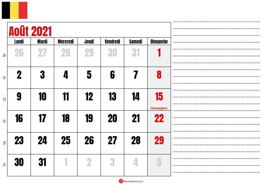 aout 2021 calendrier belgique