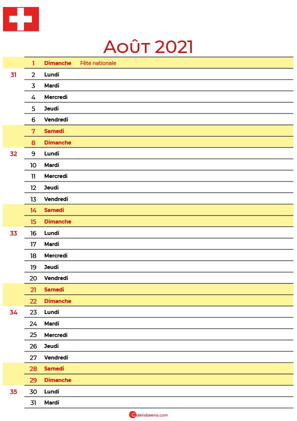 aout 2021 calendrier suisse